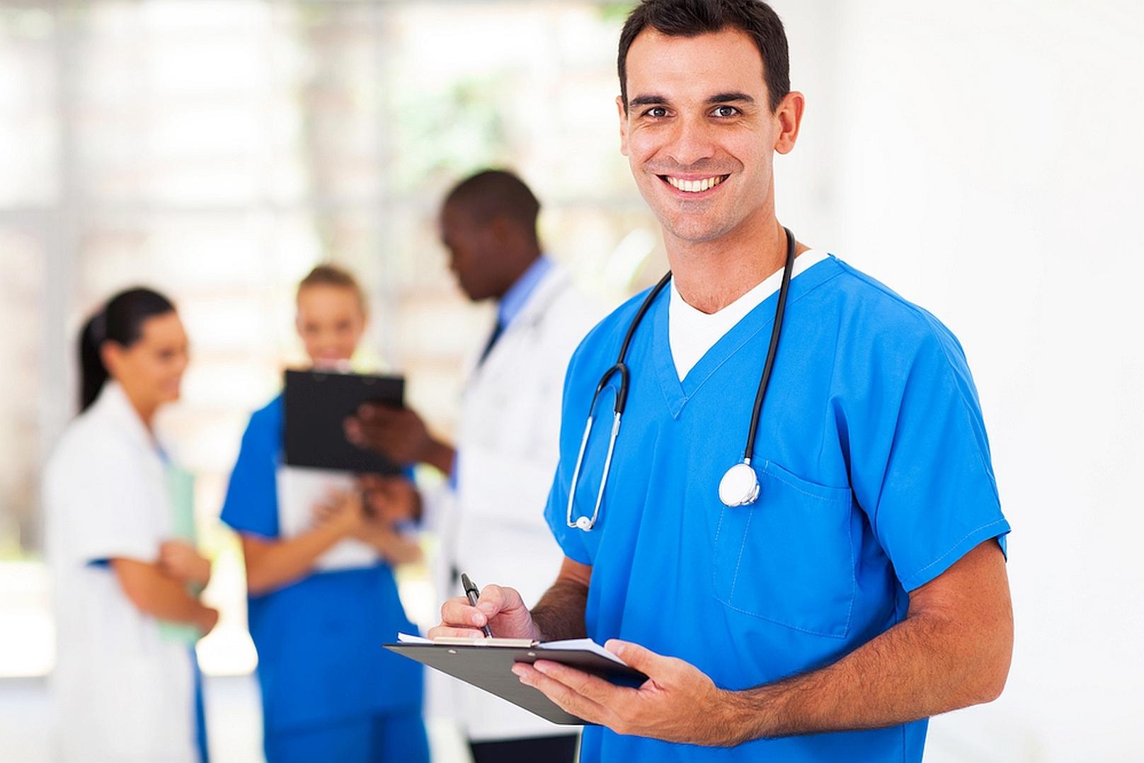 handsome medical doctor in hospital