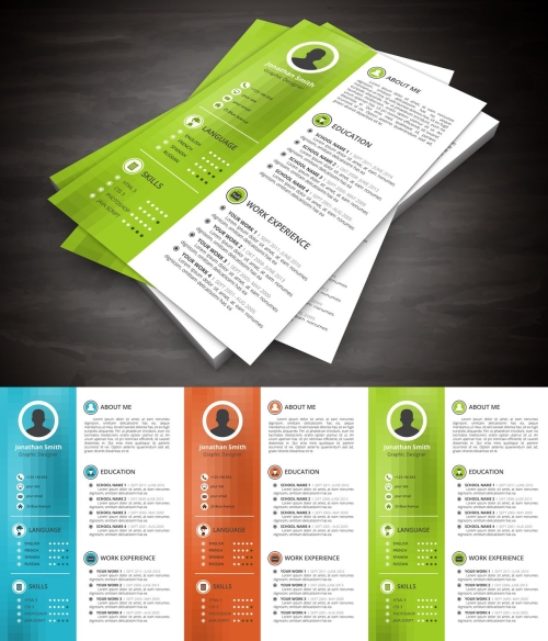 Vector illustration of creative resume template.